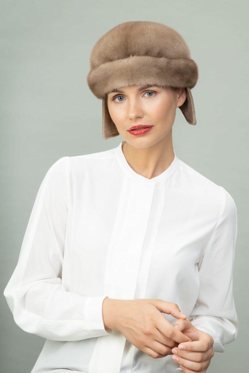 beige round mink fur hat for men and women