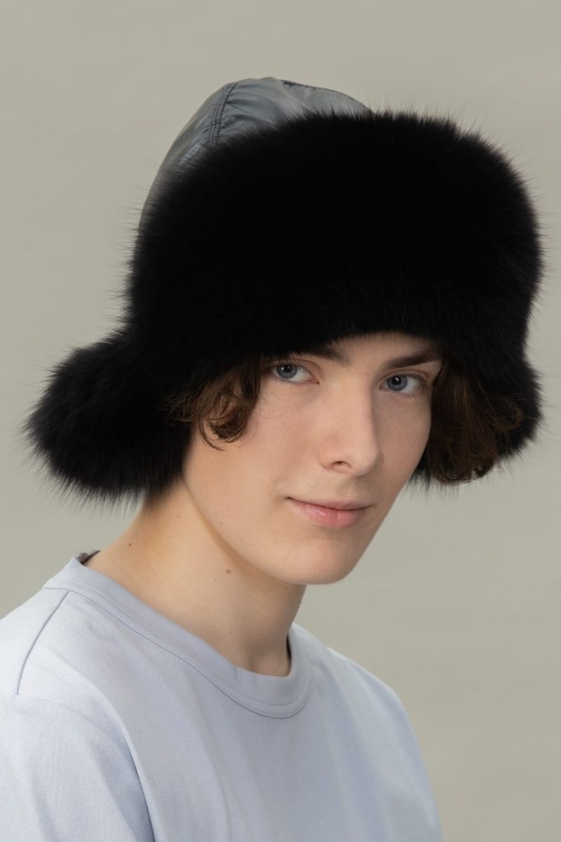 black fox fur puffy hat