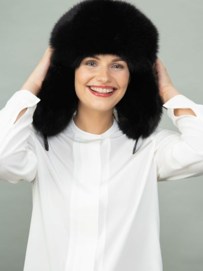 black fox fur and puffy hat with ear flaps