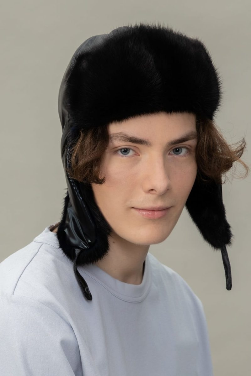 black mink fur puffy hat with ear flaps