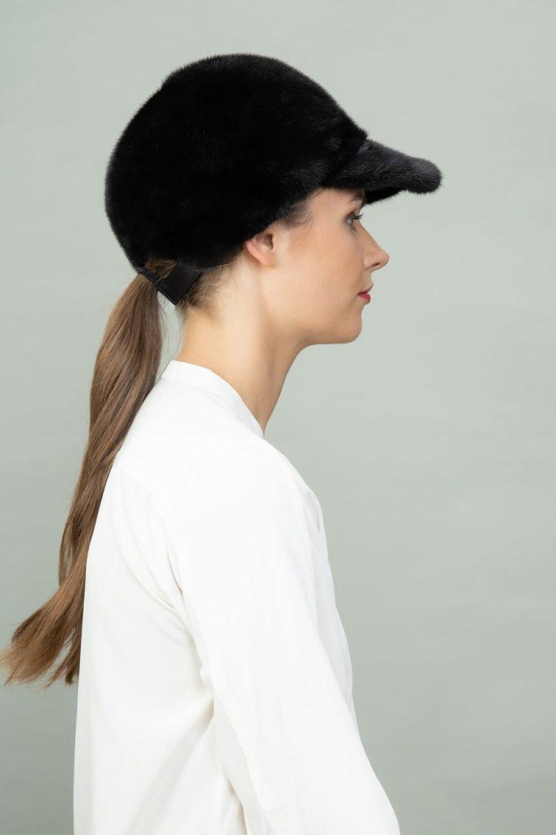 black mink fur snap hat for men and women