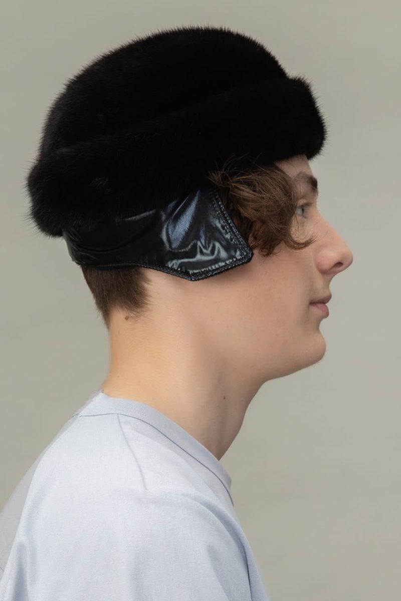 black round mink fur hat for men and women