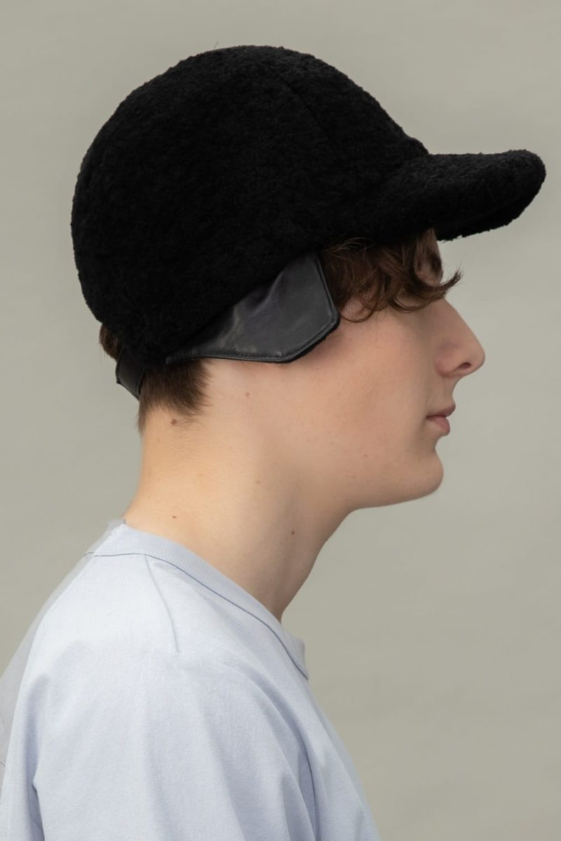 black sheepskin snap hat for men and women