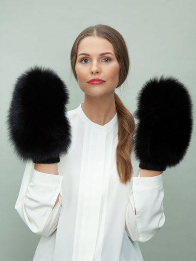 black wool mittens with fox fur