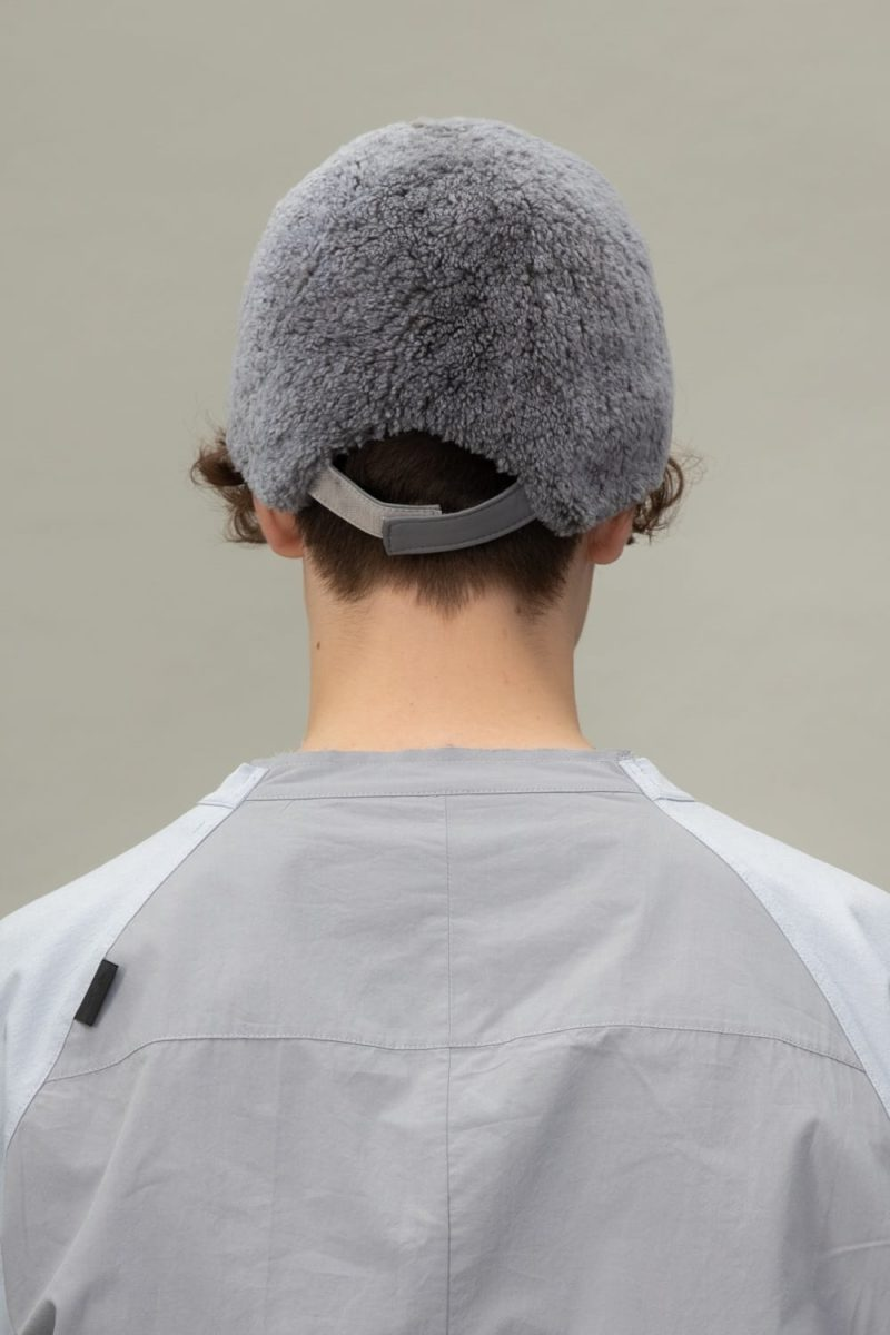 blue sheepskin snap hat for men and women
