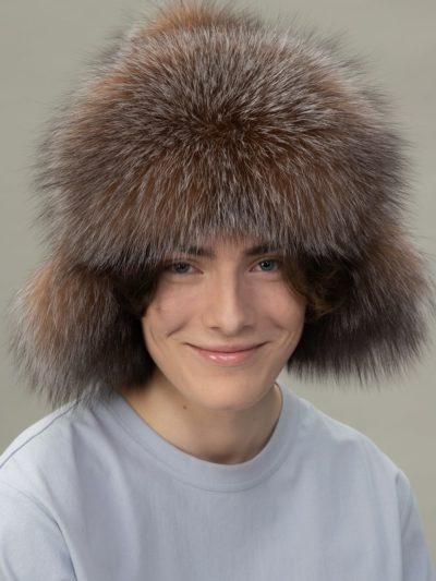 brown fox fur puffy hat