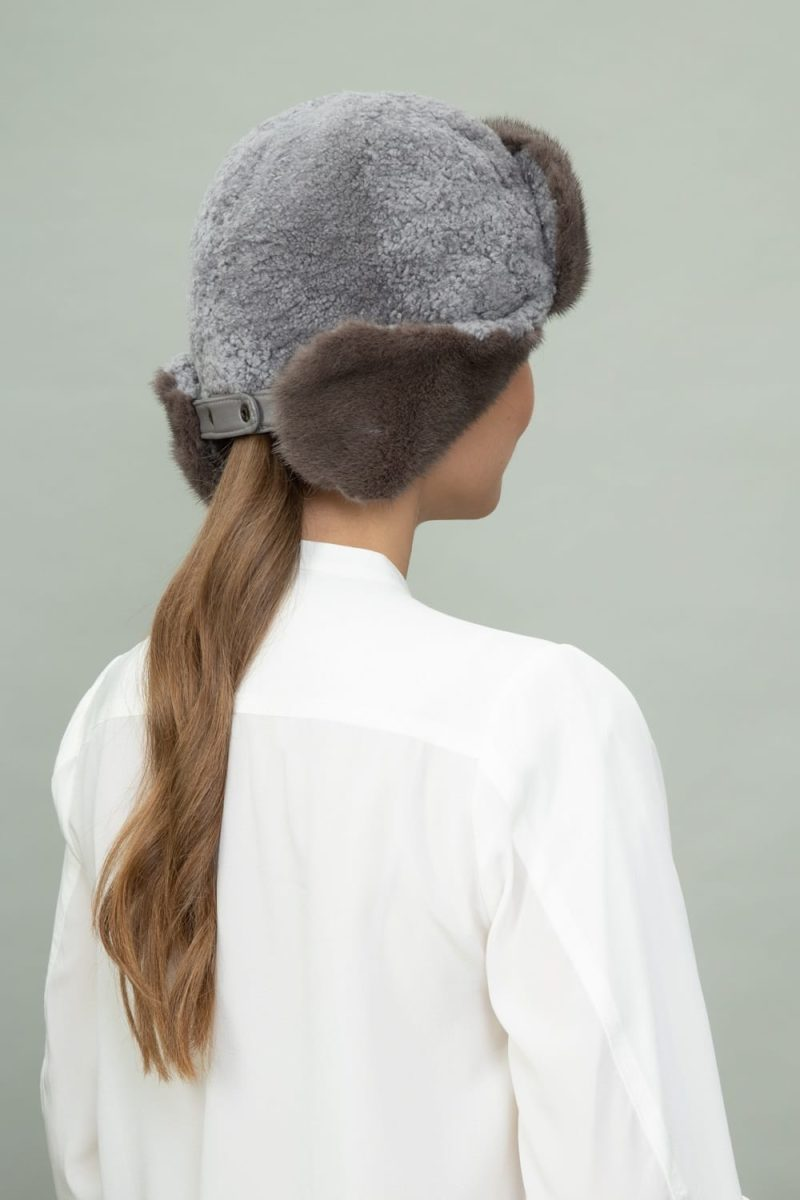 brown mink fur and gray sheepskin hat with ear flaps