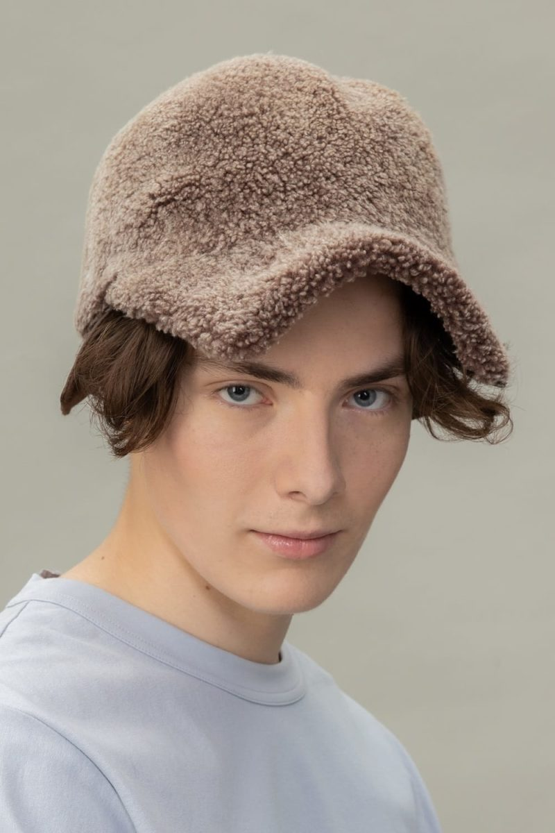 brown sheepskin snap hat for men and women