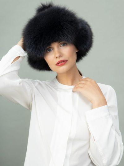 dark blue fox fur puffy hat