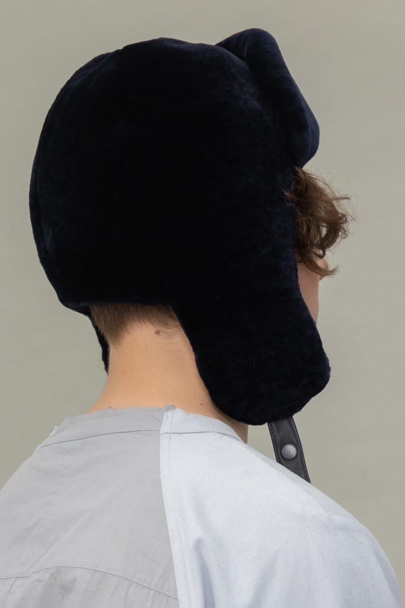 dark blue mouton sheepskin hat with ear flaps