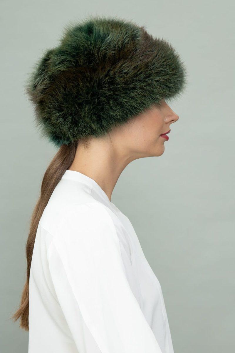 dark green fox full fur round hat