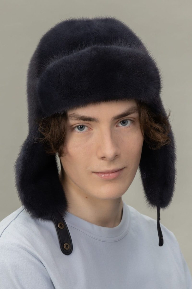 dark purple mink fur hat with ears