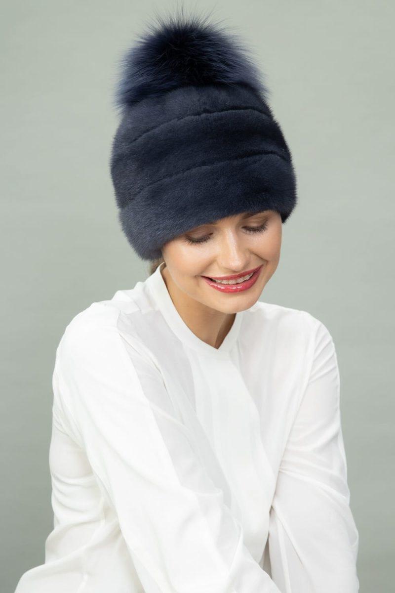 dark purple mink fur hat with fox fur pom-pom