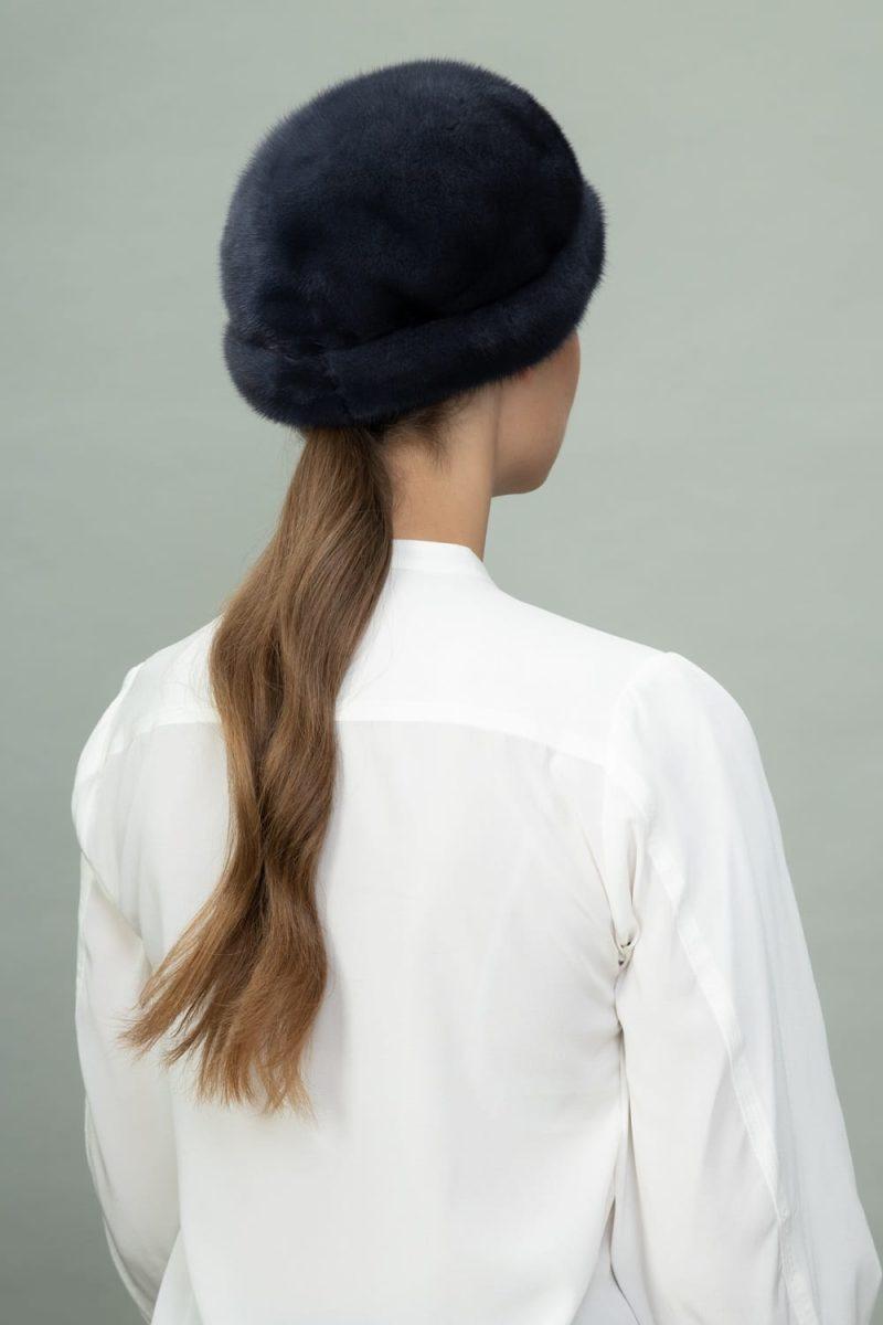 dark purple round mink fur hat for men and women