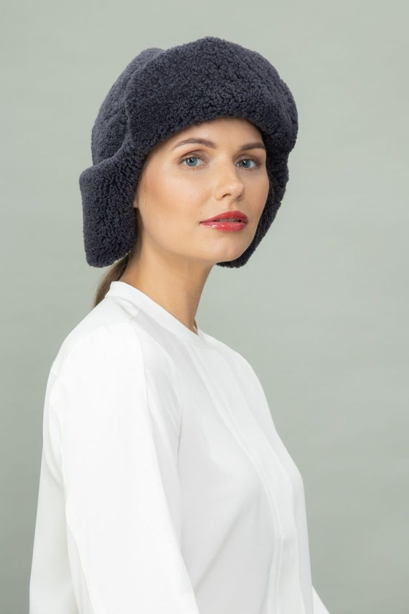 dark purple sheepskin hat with ears