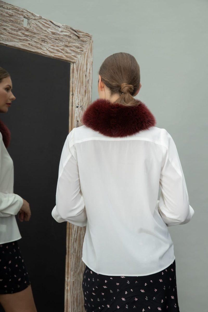 deep red fox fur tied scarf