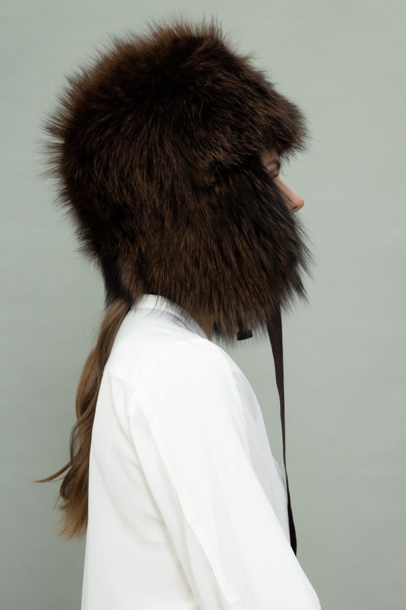 full fur brown fox fur hat with ear flaps