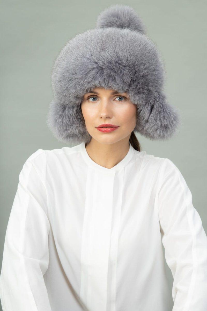 gray fox fur puffy hat