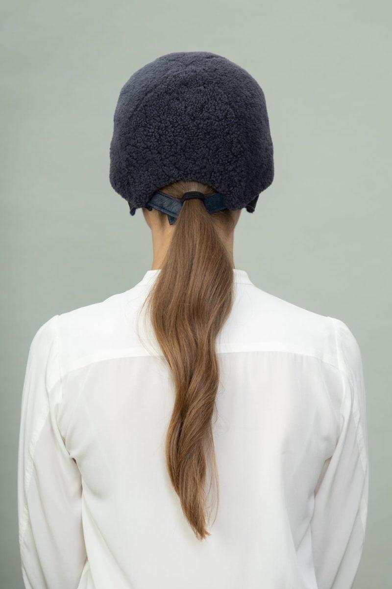 dark gray sheepskin snap hat for men and women