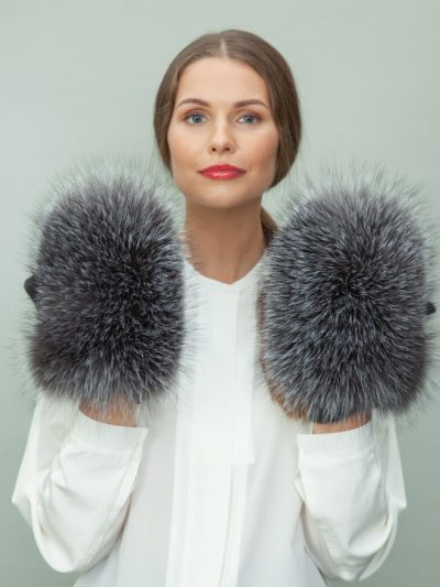 gray wool mittens with silver fox fur