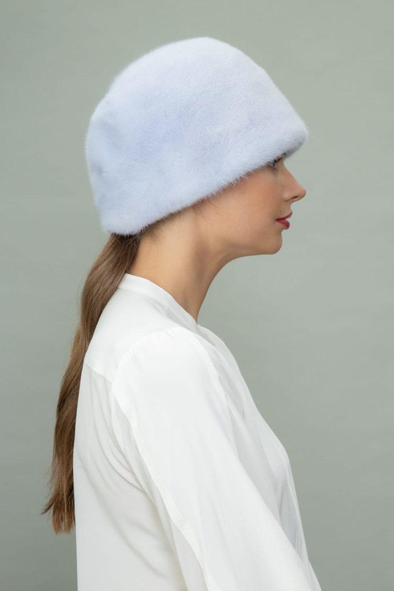 light blue mink fur hat in round style