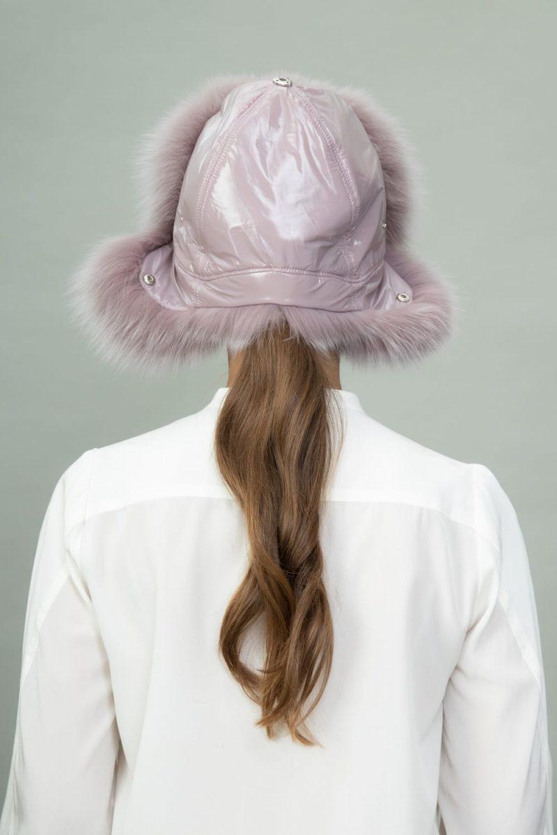 purple fox fur puffy hat