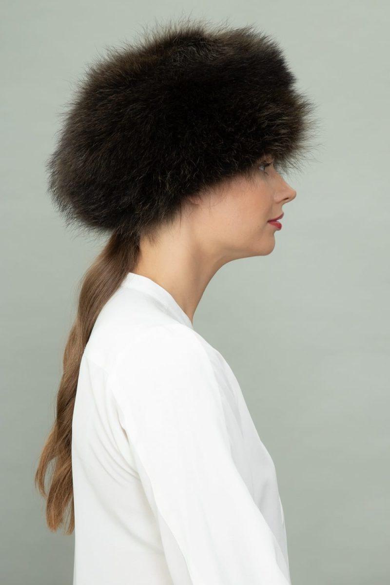 raccoon full fur round hat