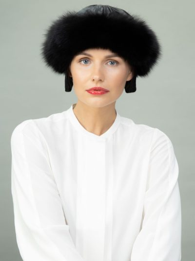 round black fox fur puffy hat