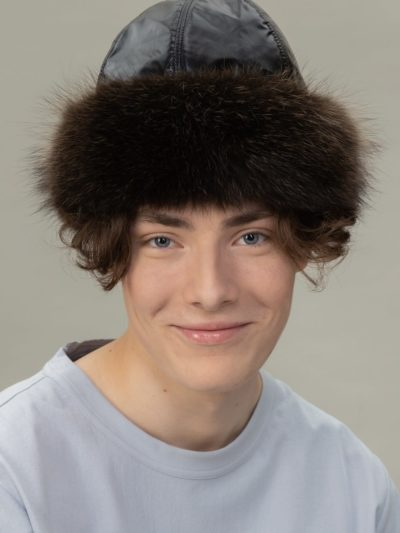 round raccoon fur puffy hat