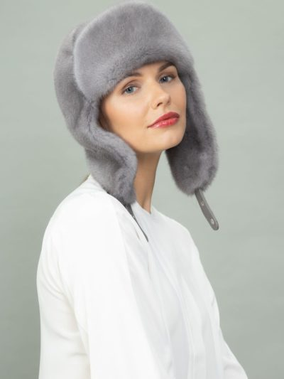 sapphire mink fur hat with ears