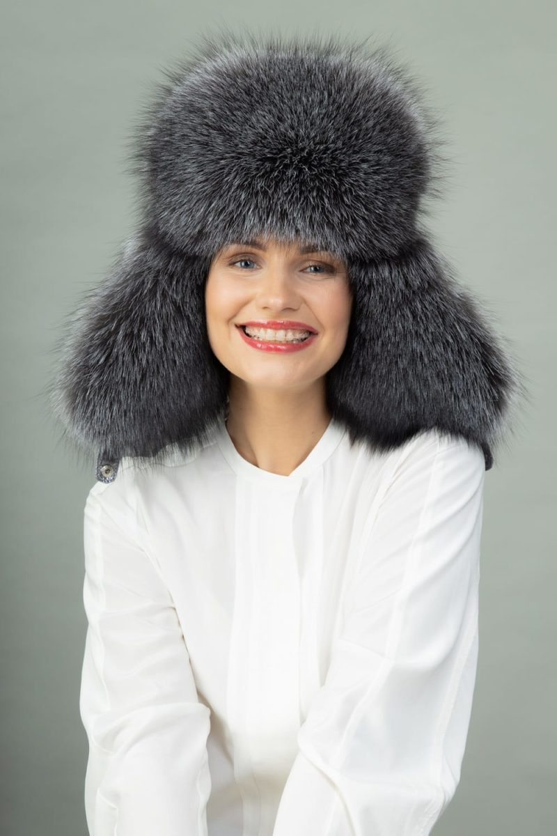 silver fox fur and silver puffy padding hat with ear flaps
