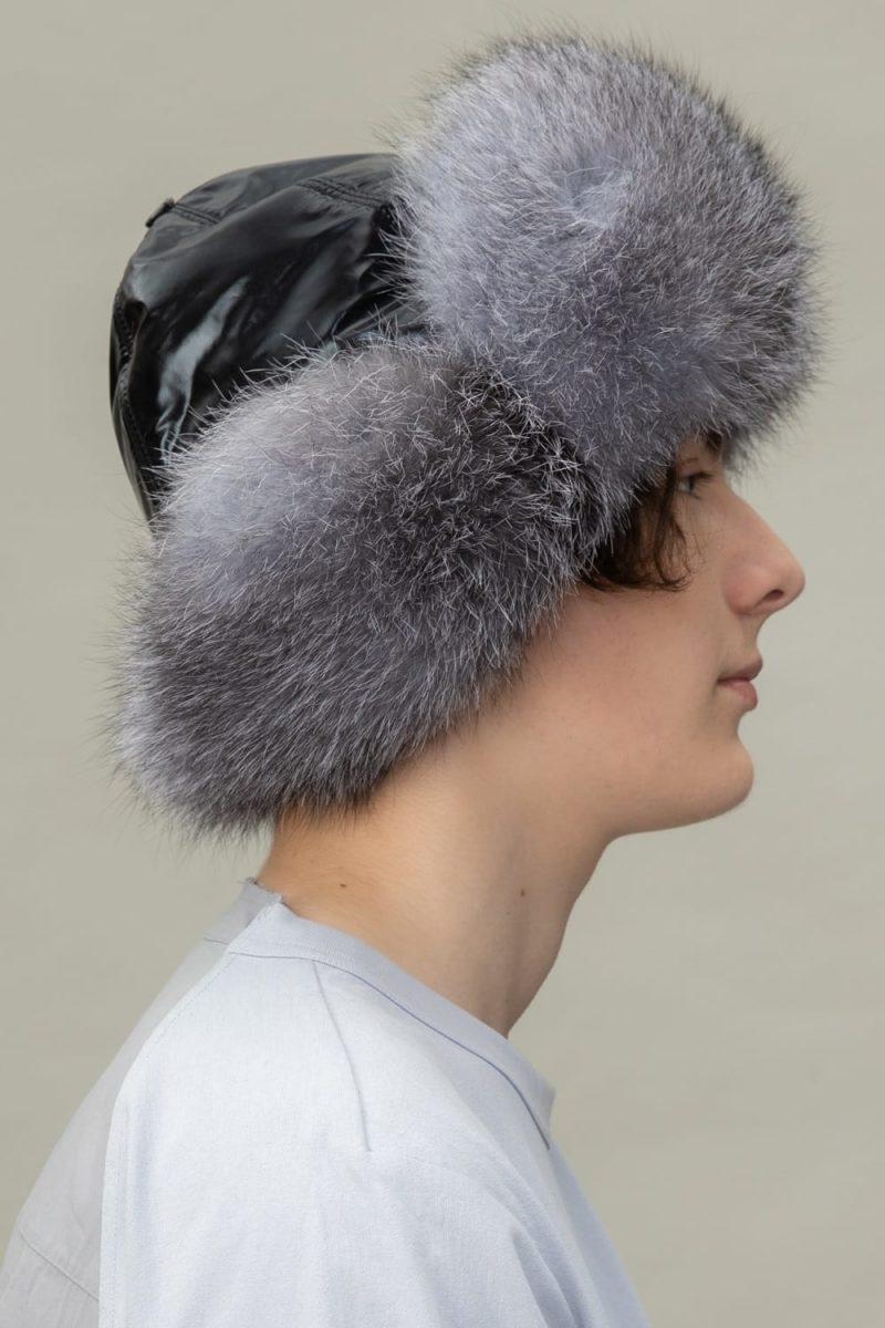 silver fox fur puffy hat