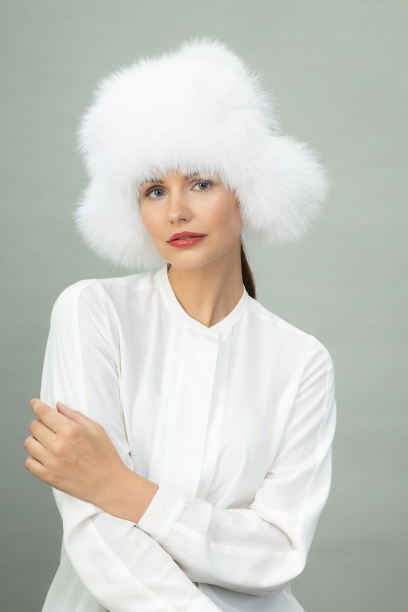 white fox fur puffy hat