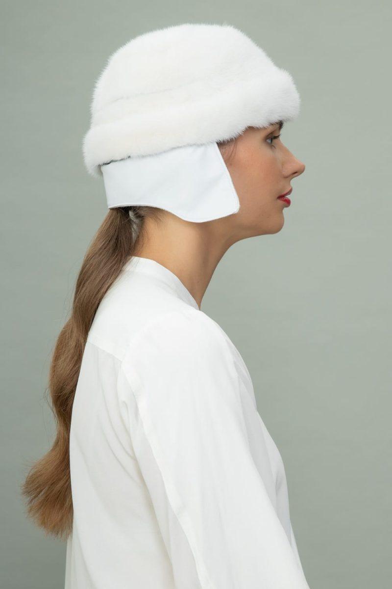 white round mink fur hat for men and women